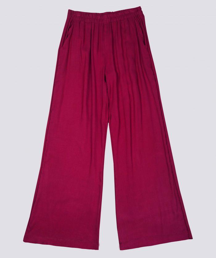 Pantalón palazzo de algodón rojo moda sostenible