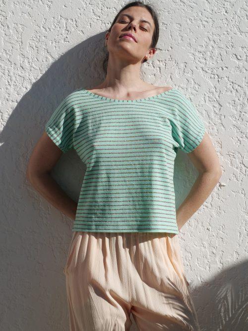 Camiseta Marinera Aguamarina lurex de Musgo. Moda sostenible. Hecho en España.