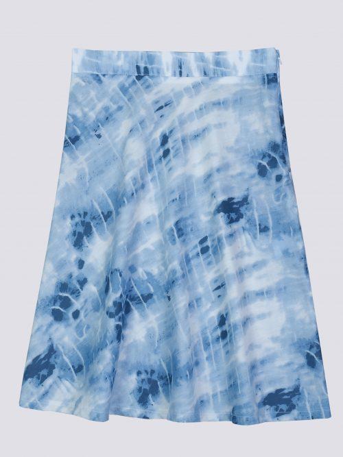 Falda trapecio estampada azul moda sostenible